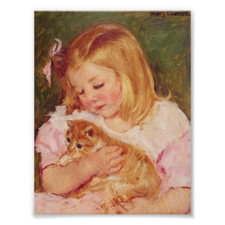 Mary Cassatt - Sara Holding A Cat Art Print