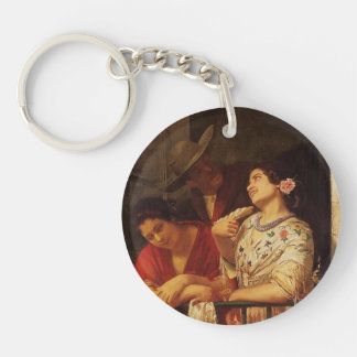 Mary Cassatt- The Flirtation A Balcony in Seville Single-Sided Round Acrylic Key Ring