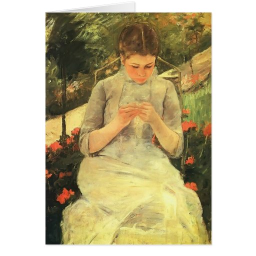 Mary Cassatt- Young Woman Sewing in the garden Greeting Card