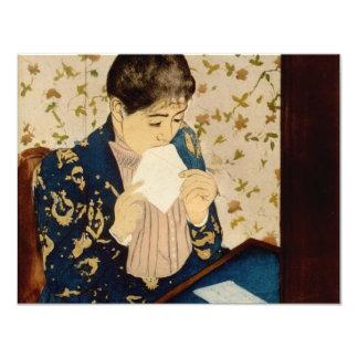 "Mary Cassatt's The Letter (circa 1891) 4.25"" X 5.5"" Invitation Card"