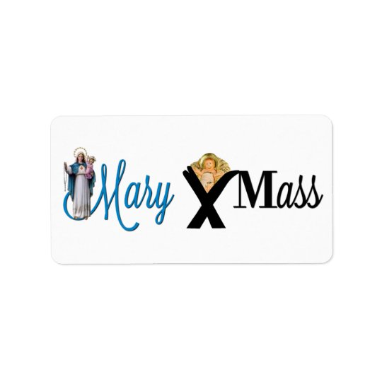 Mary Christ Child Manger Christmas Label
