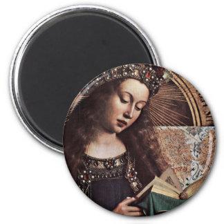 Mary Enthroned Detail By Eyck Hubert Van (Best Qua Refrigerator Magnet