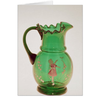 Mary Gregory green jug with fired enamel Card