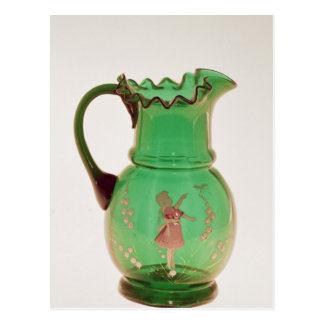 Mary Gregory green jug with fired enamel Postcard