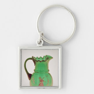 Mary Gregory green jug with fired enamel Silver-Colored Square Key Ring