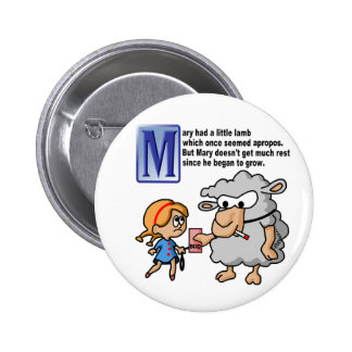 Mary Had A Little Lamb 6 Cm Round Badge