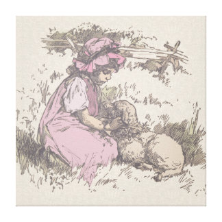 Mary Had a Little Lamb Nursery Rhyme Stretched Canvas Prints