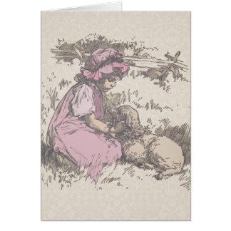 Mary Had a Little Lamb Nursery Rhyme Card