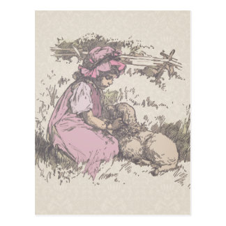Mary Had a Little Lamb Nursery Rhyme Postcard