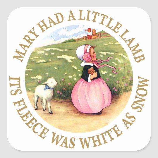 Mary Had a Little Lamb Square Sticker