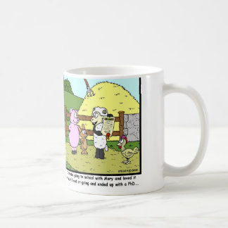 Mary had a little lamb, went to school one day... coffee mug