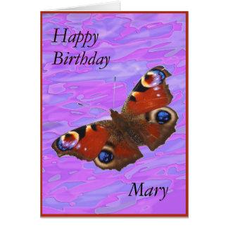 Mary Happy Birthday Peacock Butterfly card