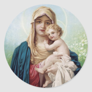 Mary holding Jesus Stickers