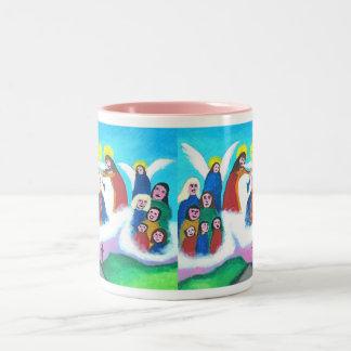 Mary In Heaven (bright) Two-Tone Coffee Mug