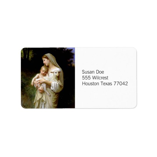 Mary, Jesus, & a Lamb Label