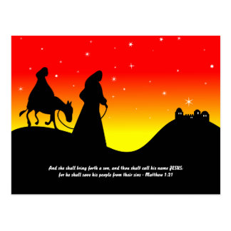 Mary & Joseph, Bible Scripture Verse Postcard