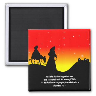 Mary & Joseph, Bible Scripture Verse Square Magnet