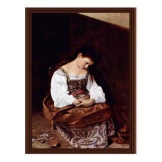 Mary Magdalene By Michelangelo Merisi Da Caravaggi Postcard