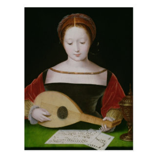 Mary Magdalene Playing a Lute Postcard