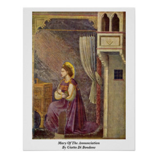 Mary Of The Annunciation By Giotto Di Bondone Poster