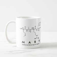 Mug featuring the name Mary spelled out in the single letter amino acid code