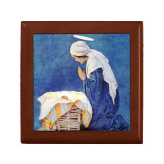 Mary Praying And Baby Jesus Small Square Gift Box