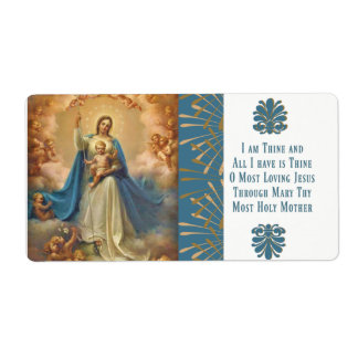 Mary Queen of Heaven Jesus Angels Shipping Label
