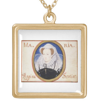 Mary Queen of Scots (1542-87) (gouache on vellum) Gold Plated Necklace