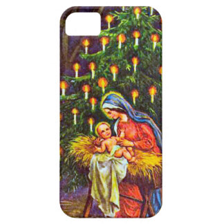 Mary, the baby Jesus, Christmas tree iPhone 5 Case