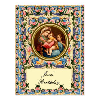 Mary the Madonna and child - Jesus' Birthday Post Card