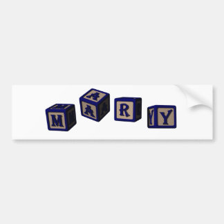 Mary toy blocks in blue bumper stickers