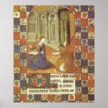 Mary visits her cousin Elizabeth, mediaeval Poster
