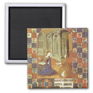 Mary visits her cousin Elizabeth, medieval Square Magnet