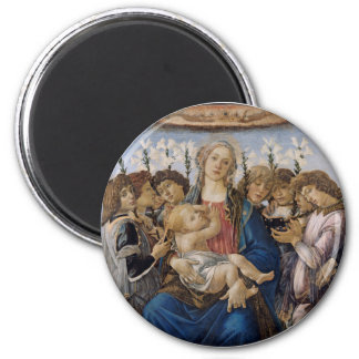 Mary with Child and Singing Angels by Botticelli 6 Cm Round Magnet