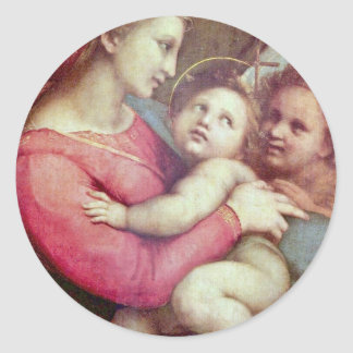 Mary With Christ Child And John The Baptist Round Sticker