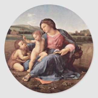 Mary With Christ Child And John The Baptist Tondo Stickers