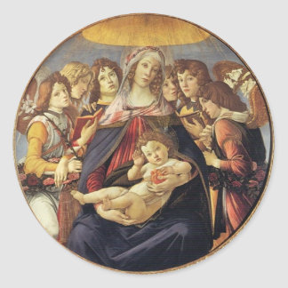 Mary With Christ Child And Six Angels Tondo Round Sticker