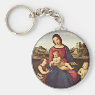Mary With Christ Child And Two Saints Tondo Basic Round Button Key Ring
