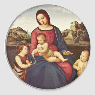 Mary With Christ Child And Two Saints Tondo Sticker