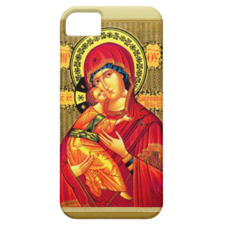 Mary with Jesus, wearing red iPhone 5 Cover
