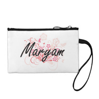 Maryam Artistic Name Design with Flowers Coin Wallet