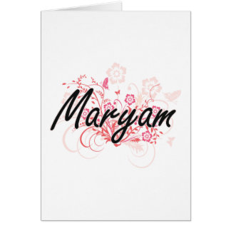 Maryam Artistic Name Design with Flowers Greeting Card