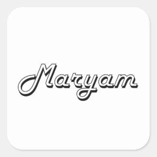 Maryam Classic Retro Name Design Square Sticker