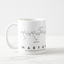 Mug featuring the name Maryam spelled out in the single letter amino acid code