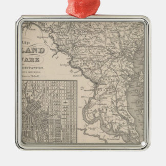Maryland and Delaware Silver-Colored Square Decoration