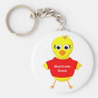 Maryland Chick Cute Cartoon Chicken Basic Round Button Key Ring