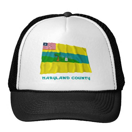 Maryland County Waving Flag with Name Mesh Hats