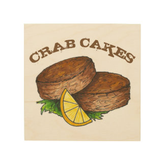 Maryland Crab Cakes Crabcakes Spicy Seafood Food Wood Wall Art