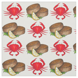 Maryland Crab Crabs Crabcake Seafood Food Fabric