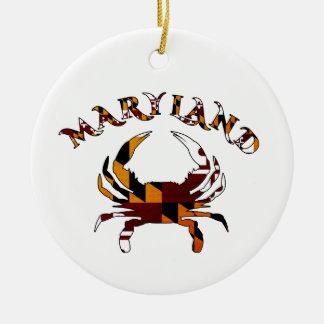 Maryland Crab Flag Round Ceramic Decoration
